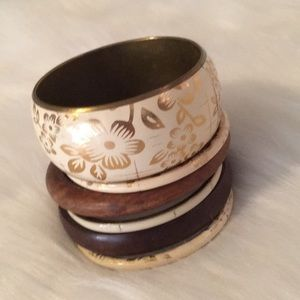 Boho 6 Chunky Bangle Bracelets Wooden Floral Gold